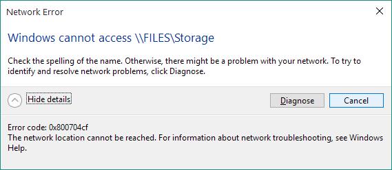 repareer netwerkfout 0x800704cf