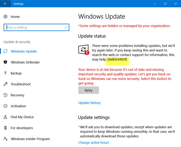 Windows 10-update 0x8024402f