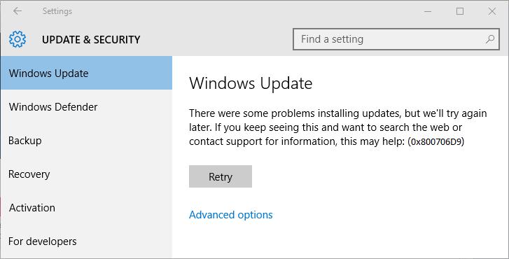reparatie Update Foutcode 0x800706D9