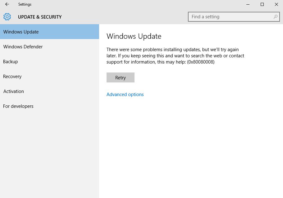 verwijderen Update Error 0x80080008