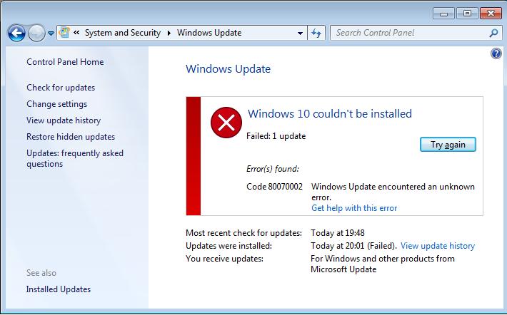 op te lossen Windows 10 systeem 0x800703F1 fout