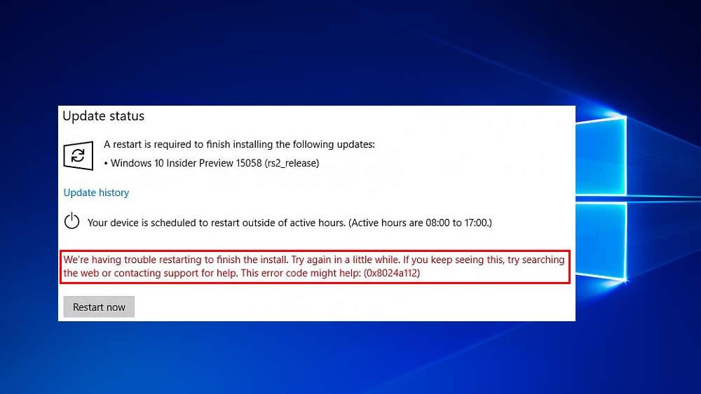 verwijder Windows 10 Update Error 0x8024a112