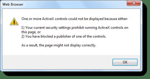 """verwijderen """"Uw huidige beveiligingsinstellingen verbieden ActiveX uitvoeren"""""""