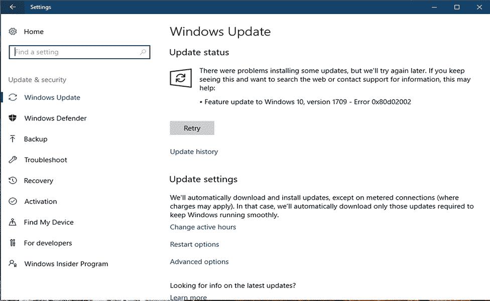 verwijderen Windows Update Error 0x80d02002