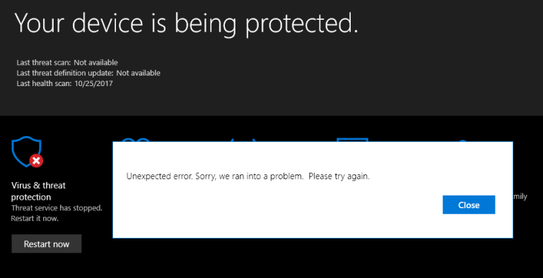 reparatie Windows 10 Defender