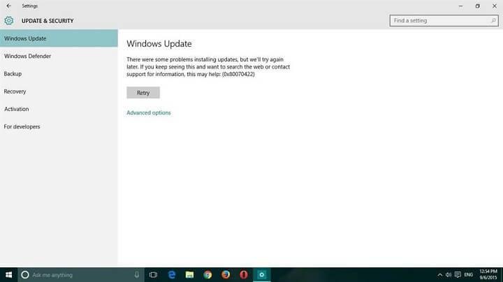 reparatie Windows 10 Update Error 0x80070422